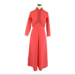 Pink 3/4 sleeve vintage A-line dress M